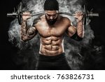 muscular young fitness sports... | Shutterstock . vector #763826731