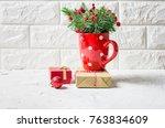 bouquet of fir branches in a... | Shutterstock . vector #763834609