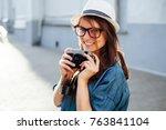 summer closeup street portrait... | Shutterstock . vector #763841104