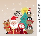 merry christmas and happy new... | Shutterstock .eps vector #763841131