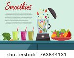 cooking smoothies. plate full... | Shutterstock .eps vector #763844131
