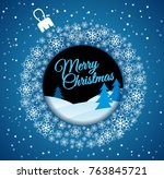 square blue christmas card.... | Shutterstock .eps vector #763845721