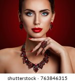 fashion model beauty makeup and ... | Shutterstock . vector #763846315
