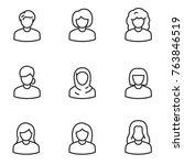 avatars of women icon set ... | Shutterstock .eps vector #763846519