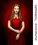 woman historical hairstyle and... | Shutterstock . vector #763846681