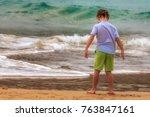 kid contemplating the ocean.... | Shutterstock . vector #763847161