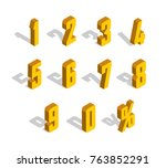 3d golden yellow isometric... | Shutterstock .eps vector #763852291