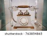 old white dial telephone | Shutterstock . vector #763854865