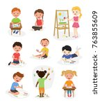 artist cute kids vector paint... | Shutterstock .eps vector #763855609