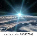 thrilling sunrise from space.... | Shutterstock . vector #763857169