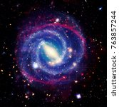 spiral galaxy and nebula. the... | Shutterstock . vector #763857244