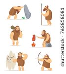 caveman and different action... | Shutterstock .eps vector #763858081