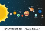 scheme of solar system. planets ... | Shutterstock .eps vector #763858114