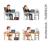business peoples at work.... | Shutterstock .eps vector #763858129