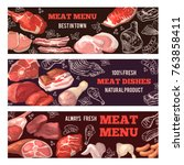 banners with pictures of meat.... | Shutterstock .eps vector #763858411
