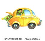 watercolor yellow car with... | Shutterstock . vector #763860517