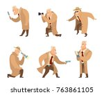 detective in different action... | Shutterstock .eps vector #763861105