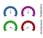 set of different speedometers.... | Shutterstock .eps vector #763862011