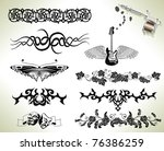 series set of tattoo flash... | Shutterstock .eps vector #76386259