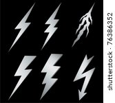 Silver lightning set on black. Vector - stock vector