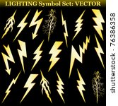 Gold lightning set isolated on black. Vector - stock vector