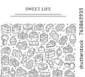 cakes and cookies theme... | Shutterstock .eps vector #763865935