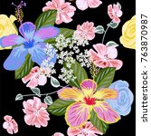 seamless pattern with beautiful ... | Shutterstock . vector #763870987