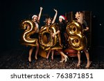 beautiful women celebrating new ... | Shutterstock . vector #763871851