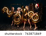 group of cheerful young women... | Shutterstock . vector #763871869