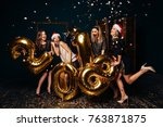 group of cheerful young girls... | Shutterstock . vector #763871875