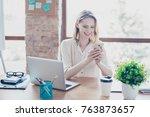 portrait of happy smiling glad... | Shutterstock . vector #763873657