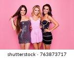portrait of three cute  nice... | Shutterstock . vector #763873717