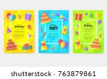 gift information cards set.... | Shutterstock .eps vector #763879861