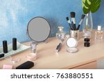 cosmetic set with mirror on... | Shutterstock . vector #763880551