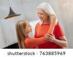 family relations. delighted... | Shutterstock . vector #763885969