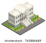 isometric courthouse building.... | Shutterstock .eps vector #763886689