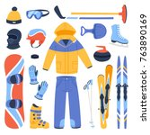 winter vector sport and clothes ... | Shutterstock .eps vector #763890169