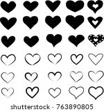 set of heart icons in black.... | Shutterstock .eps vector #763890805