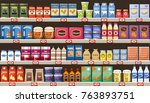 supermarket  shelves with... | Shutterstock .eps vector #763893751