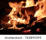 campfire burning logs in large... | Shutterstock . vector #763895395