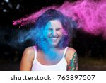cheerful young woman with... | Shutterstock . vector #763897507