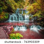beautiful cascade waterfall in... | Shutterstock . vector #763903309