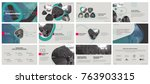 Green gray presentation templates elements on a white background. Vector infographics. Use in Presentation, flyer and leaflet, corporate report, marketing, advertising, annual report, banner. | Shutterstock vector #763903315