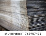 pile of thin steel sheets in...   Shutterstock . vector #763907431