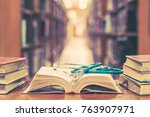 old book in library with... | Shutterstock . vector #763907971