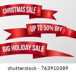 red ribbon christmas sale ... | Shutterstock .eps vector #763910389