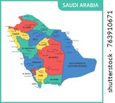 the detailed map of the saudi... | Shutterstock .eps vector #763910671