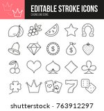 casino line icons set with... | Shutterstock .eps vector #763912297