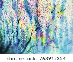 abstract watercolor wisteria... | Shutterstock . vector #763915354