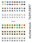 set of icons in different style ... | Shutterstock .eps vector #763915897